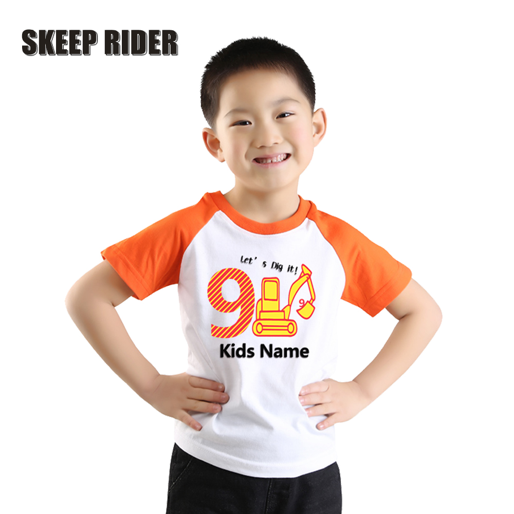 Children Birthday-Outfit T-Shirt boys Orange Letter Printing Baby-Boy Big Girls Summer