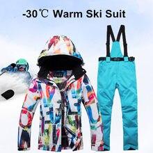 a80f36bf11bac Yeni Kalın Sıcak Kayak Takım Elbise Kadın Su Geçirmez Rüzgar Geçirmez Kayak  ve Snowboard Ceket pantolon
