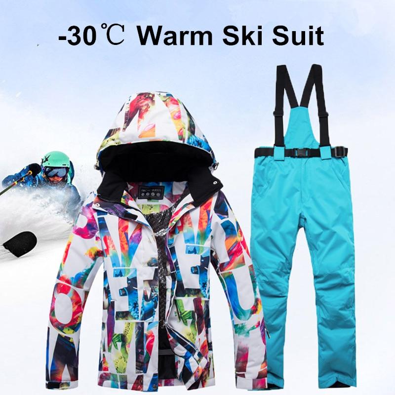 Nouvelle Épais Chaud combinaison de Ski Femmes Coupe-Vent Imperméable Ski et Snowboard Veste ensemble de pantalon Femelle Neige Costumes Vêtements de Plein Air
