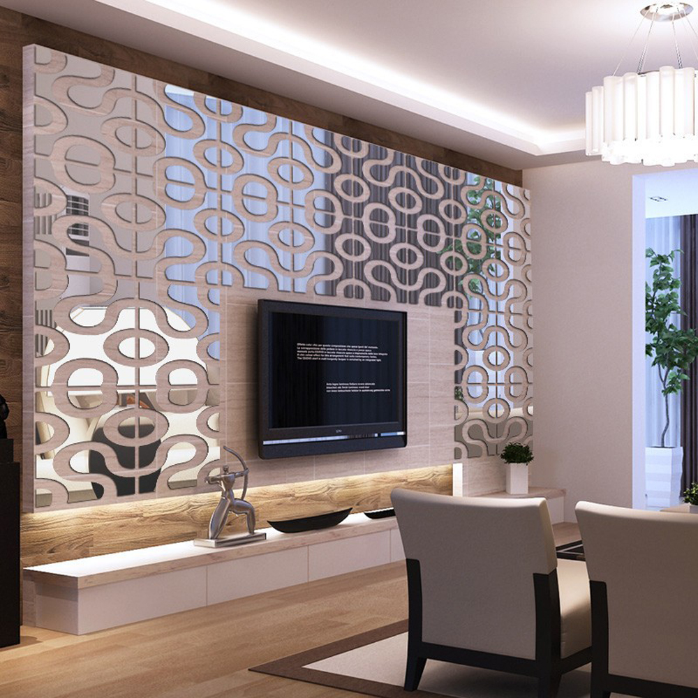 Modern Design DIY Acrylic Mirror Wall Art Home Decor 3D ... on Wall Decor For Living Room  id=52507
