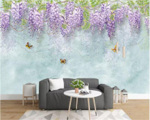 beibehang Modern personality decorative painting wall paper simple marble pattern hand-painted plant leaves background wallpaper