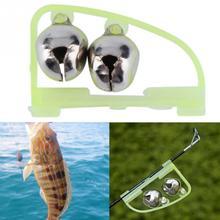 2pcs Night Glow Light Fishing Rod Pole Tip Clip Twin Bell Alarm Alert