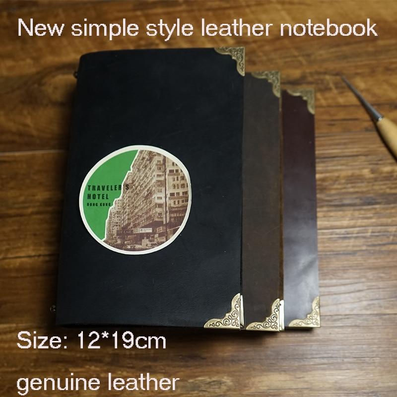 New handmade genuine journal leather travelers notebook writing pads kraft paper high quality spiral school supplies notebook