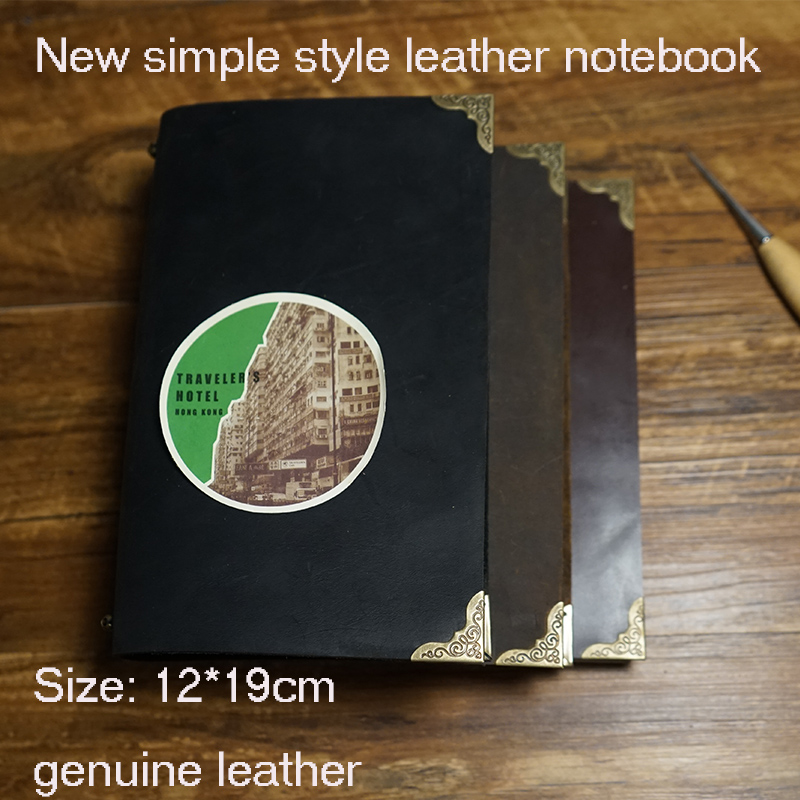 New handmade genuine journal leather travelers notebook writing pads kraft paper high quality spiral  school supplies notebook notebook a4 inside page spiral 60 sheets 3 hole filler paper blank and line kraft paper office and school supplies writing pads