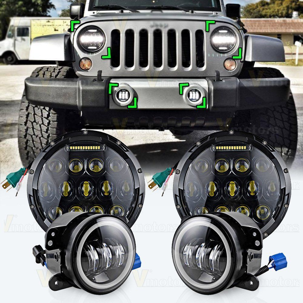 7 Inch LED 75W Headlights & LED Fog Lights White Yellow Red Blue Green Pink DRL Combo Kit For Jeep Wrangler JK 2007-2016