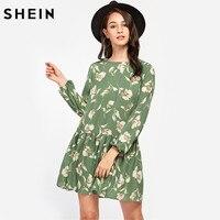 SHEIN Allover Flower Print Lantern Sleeve Drop Waist A Line Dress Autumn Green Round Neck Long