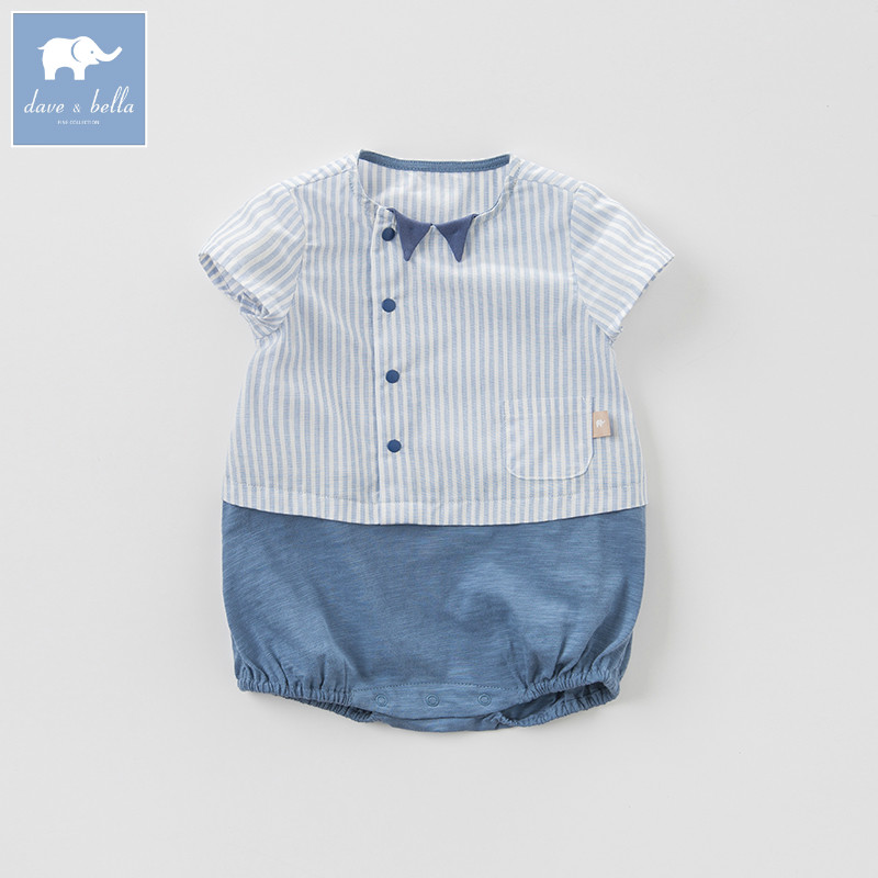 Dave Bella New Born Baby Boy Romper Toddler Summer Clothing Infant Short Striped Clothes Kids Jumpsuit DB7268