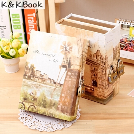 K&KBOOK Cute Creative Diary Notebook with Lock in Gift Box Personal Journal Thick Notepad Note Book Office School Notebooks 365 day thick hardcover personal diary