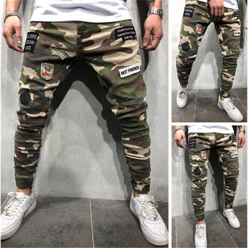 メンズスキニーストレッチデニムパンツ迷彩はスリム · ジーンズズボン 2019 ホット貨物パンツジーンズの男性の服