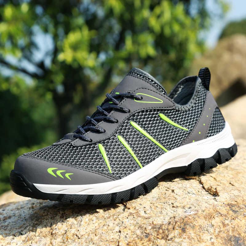 YRRFUOT الرجال حذاء للسير مسافات طويلة العلامة التجارية في الهواء الطلق حذاء رياضي تنفس تسلق الجبال الرجال أحذية رياضية الدانتيل يصل شبكة درب حذاء ارتحال