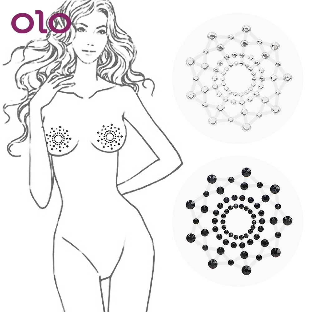 OLO Nipple Sticker 1 Pair Female Sex Products Reusable Nipple Cover Self Adhesive Breast Petals Chest Sticker