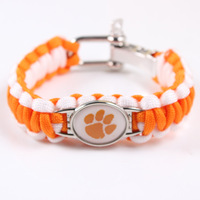 Clemson Tigers National Football NCAA Championship Umbrella Rope Bracelet Weaving Outdoor Survival Bracelet Wholesale