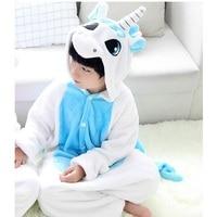 Vanled Flannel Blue Tianma Unicorn Pajama Children S Siamese Pajamas Overall Home Parent Child Winter Warm