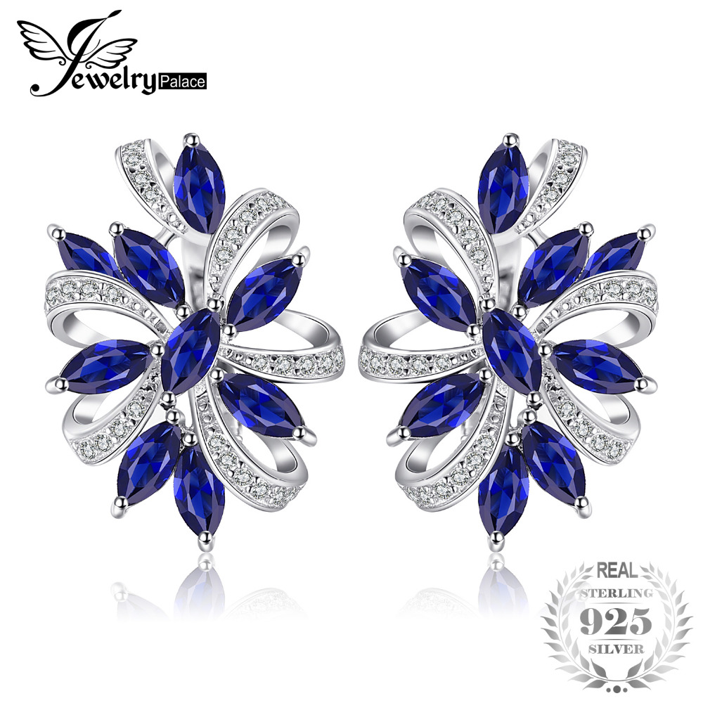 JewelryPalace Unique Design 2.1ct Created Clip On Earrings Genuine 925 Sterling Silver Jewelry Clip Earrings Nice Gift аксессуар peak design camera clip microplate площадка