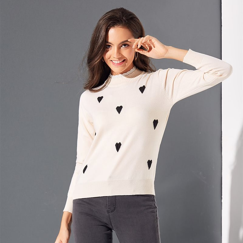 Boho Casual Winter Sweet Simple Casual Plus Size Women Sweaters Slim Pullover Heart Print Fall 2019 Elegant Female Chic Tops in Pullovers from Women 39 s Clothing