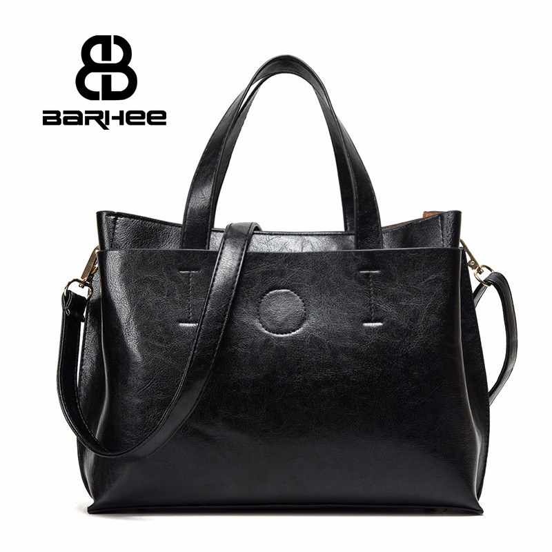 BARHEE Hot Sale Wanita Kulit Handbag Ladies Tote Retro Messenger bag Shoulder Business Office Hand Bag Black Brown Bolsas