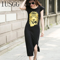 Modal High Quality Modal Straight Dress Animal Tiger Print Loose Dress Soft Bodycon Split Design Long