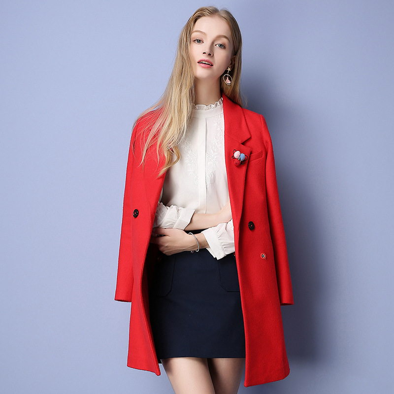 New Arrival 2016 Winter European Women's Solid Woven Single Button Lapel Collar Wide-waisted Ladies Suit Woolen Coat vestido de