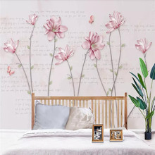 Literary magnolia flower butterfly background wall professional production mural wholesale wallpaper poster photo