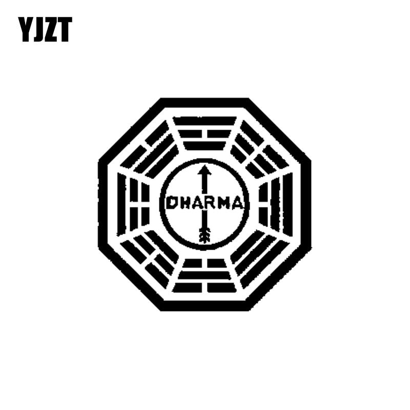YJZT 15CM*15CM Lost Dharma Initiative Personality Vinyl Car Sticker Black/Silver Decoration Decal C11-1221