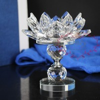 Free shipping High Quality Long Stem Crystal Lotus Flower Tea light Candle holder Stand