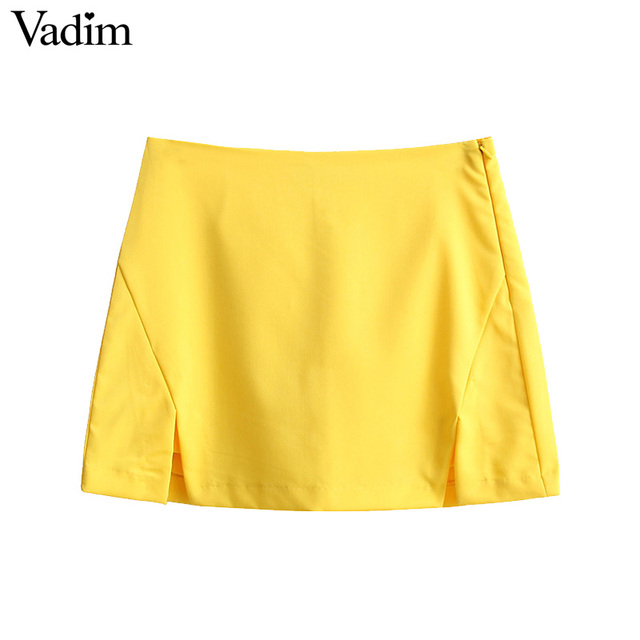 Vadim women elegant solid yellow shorts skirts side split zipper ...