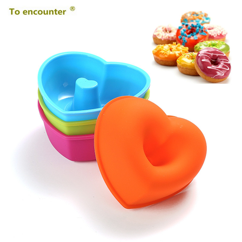 Silicone DIY Donut Maker Heart Shape Doughnut Mold Set Desserts Sweet Food Bakery Baking Cookie Cake Mould Kitchen Dessert Tool doughnut