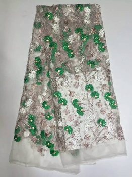 African Lace Fabric Embroidered Nigerian Bridal Dress High Quality White French Tulle Material With Beads For Women