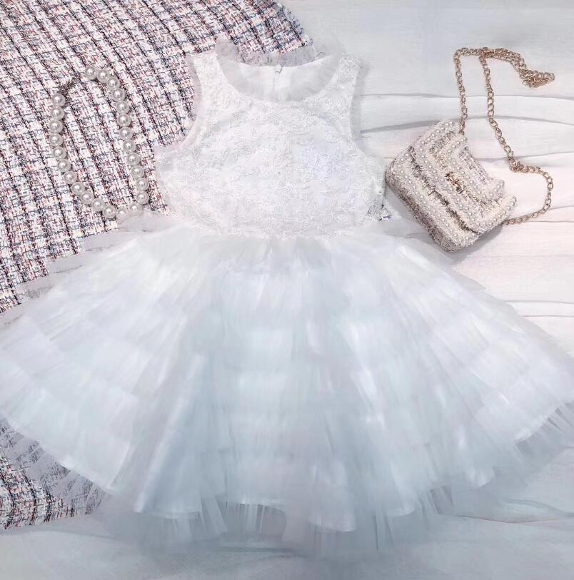 Nouveau 2019 enfants filles Boutique blanc fleur fête gâteau robes, enfants de haute qualité robe de demoiselle d'honneur, 6 pcs/lot livraison gratuite