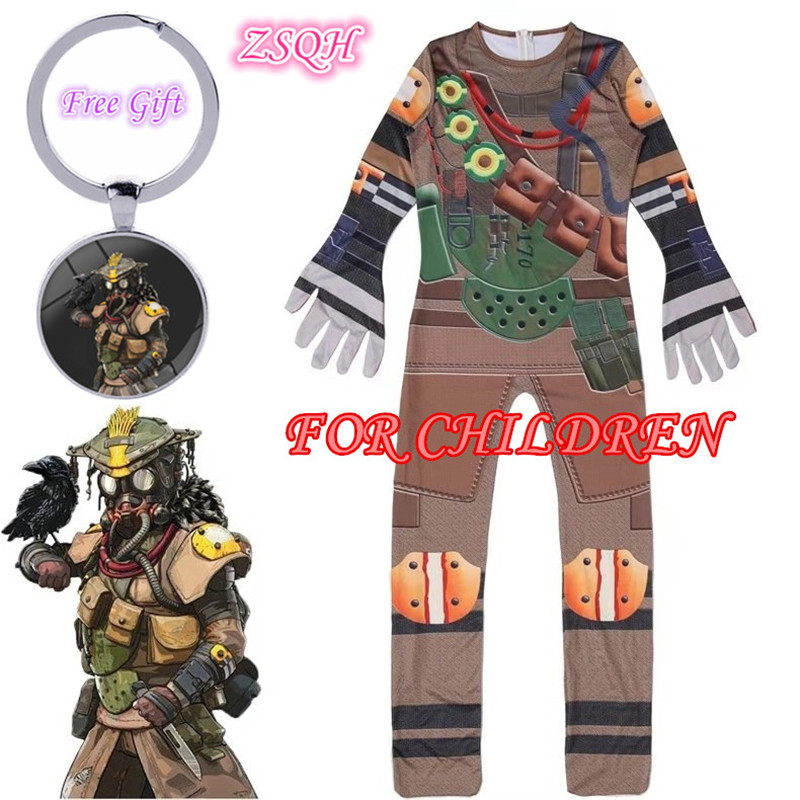 ZSQH Apex Legends Cute Bloodhound Jumpsuit Cosplay Costume Apex Legends bloodhound Children Bodysuit Cosplay For Kids Girls Boy