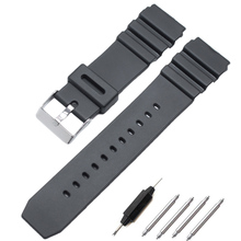 HENGRC Watchbands 18 20 22mm Men Sport Diving Silicone Watch Band Strap Stainless Steel Pin Buckle For Casio Accessories