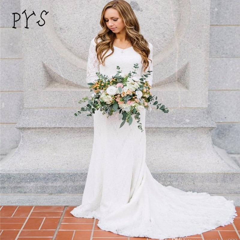 Sheath Wedding Dresses 2019: PYS Vintage Modest Wedding Dresses 2019 3/4 Sleeves
