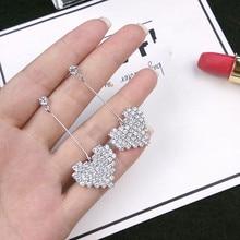Korean Personality Earrings Temperament Heart Full Crystal Long Love Female
