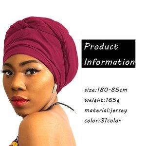Image 2 - High quality jersey scarf cotton plain elasticity shawls maxi hijab long muslim head wrap long scarves/scarf 10pcs/lot 35 color