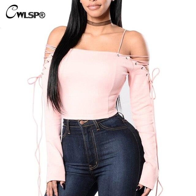 CWLSP 2017 Sexy Slash Neck Women T shirt Long Sleeve Cross Lace up tshirt Crop Top Short Tee Tops harajuku merk kleding QA1610