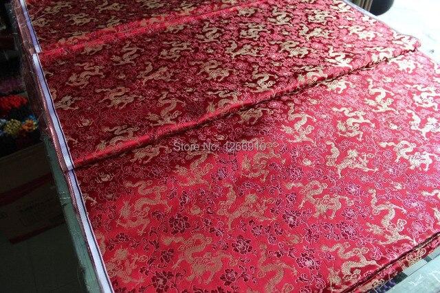8aedf7623 chinese silk brocade woven damask damask fabric cheongsam cushion Red  jujube Claret back gold dragon Tapestry
