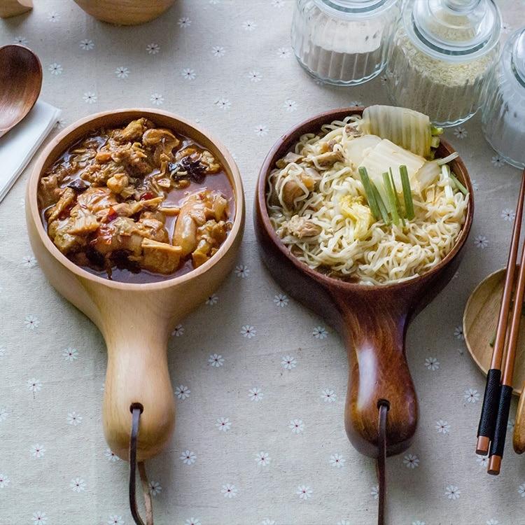 Waved Wooden Salad Bowl Noodle Bowl Long Handle Salad Bowl Nice Kitchen Accessory Kitchen Art Tool
