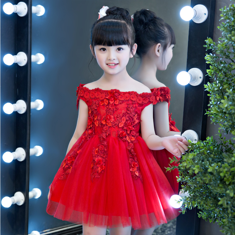 2017New High Quality Kids Girls Luxury Embroidery Flowers Lace Princess Tutu Dress Summer Red Color Wedding Birthday Party Dress