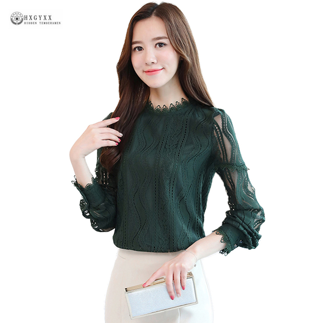 f34ffc5b5e5 2018 Latest Women Blouse Lace Shirts Pure Color Long Sleeves Casual Female  Shirt Plus Size Sexy Elegant Lady Spring Tops Ok1549