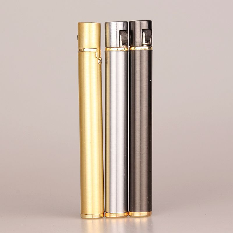 Image 2 - 2018 New Creative Mini Compact Jet Butane Lighter Metal Cigarette Shaped Inflatable Gas Lighter Cigarette No Gas Free Shipping-in Matches from Home & Garden