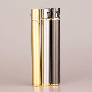 Image 2 - Mechero compacto de Metal de butano con forma de cigarrillo, mechero de Gas inflable, sin Gas, novedad, 2018