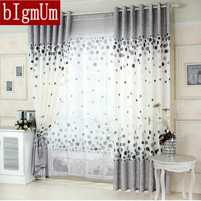 Kitchen Curtians Utensil Holder Ideas New Arrival Curtains Blue Gray Window For Living Room Floral Dots Panel Summer Tulle Windows Treatments