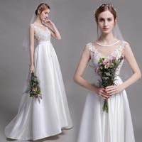 Holievery Boho Lace Satin Beach Wedding Dresses with Veil 2019 Ivory Wedding Gowns New Summer Bride Dress Vestido De Noiva
