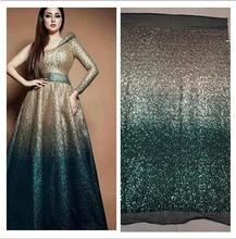 (5yards/pc) high quality gradient gold green African sequins lace French net fabric for bling party dress FJY105