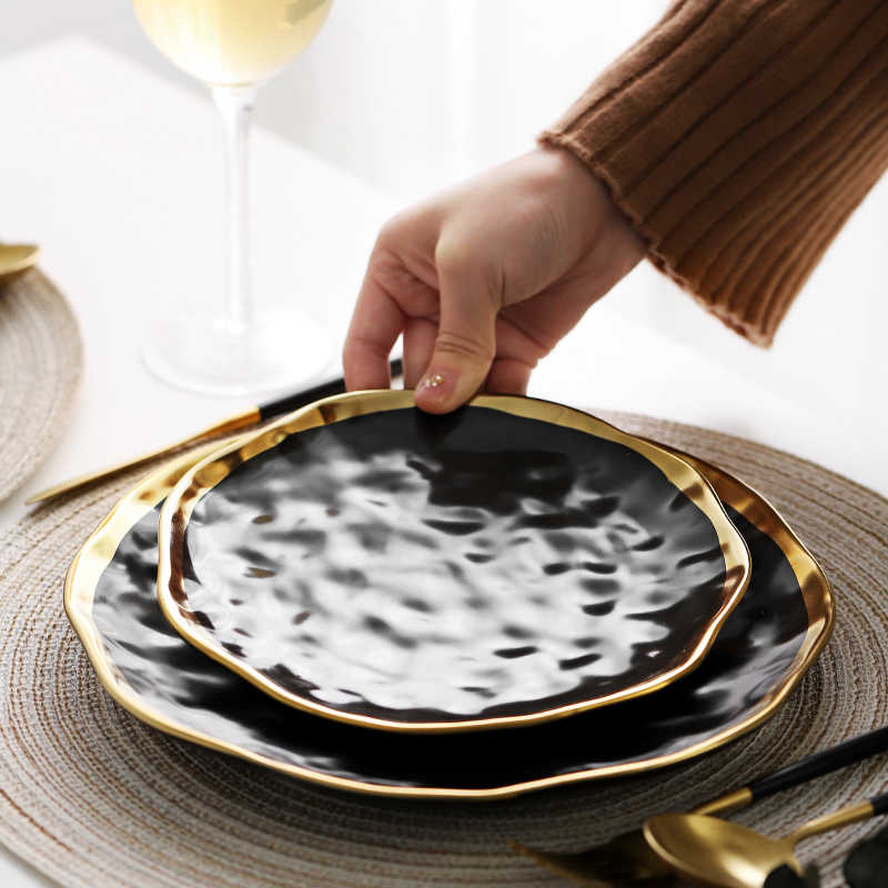 Emas Tepi Piring Piring Keramik Piring Makan Gold Panner Makanan Ringan Hidangan Mewah Makan Dapur Hitam Putih Tray Set Peralatan Makan