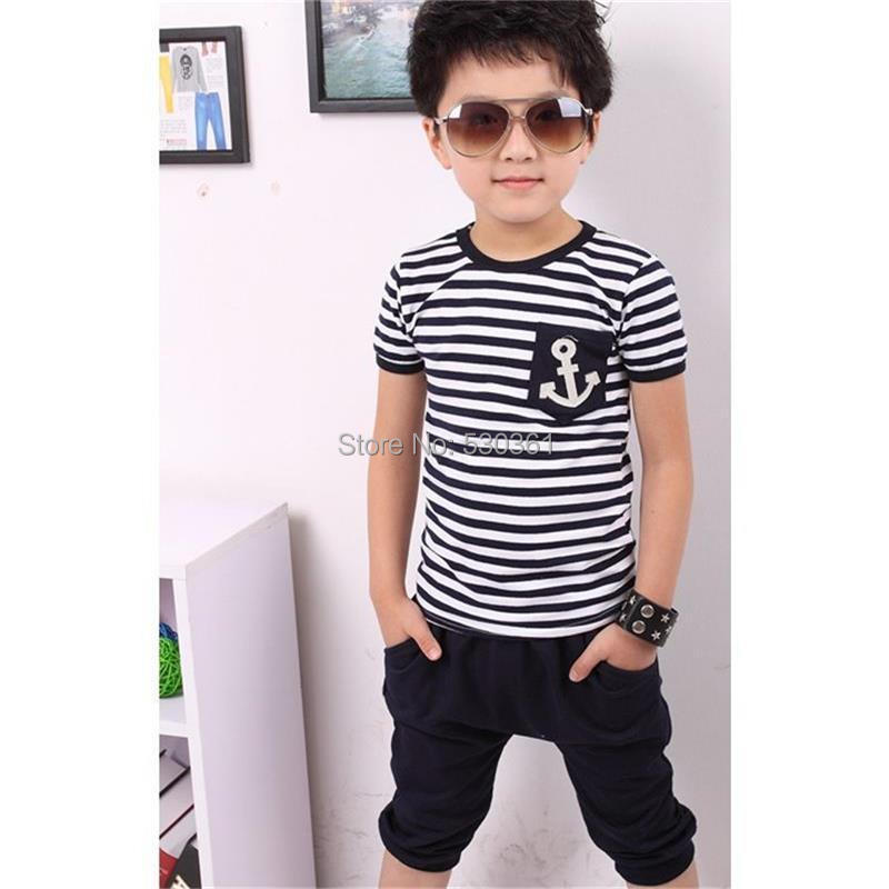 TANGUOANT-Free-shipping-hot-sale-summer-clothing-sets-kids-pants-Top-boys-girls-Navy-Stripe-kids-clothes-children-tracksuit-2