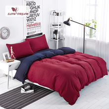 SlowDream Light luxury Bedding Set Solid Red And Blue Duvet Cover Soft Polyester Flat Sheet Bedclothes 3pcs or 4pcs