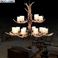 BOCHSBC 15 Heads Resin Antler Chandeliers Two Layers Chrismas Hanging Lamp With Glass Lampshade for Living Room Parlor Bedroom