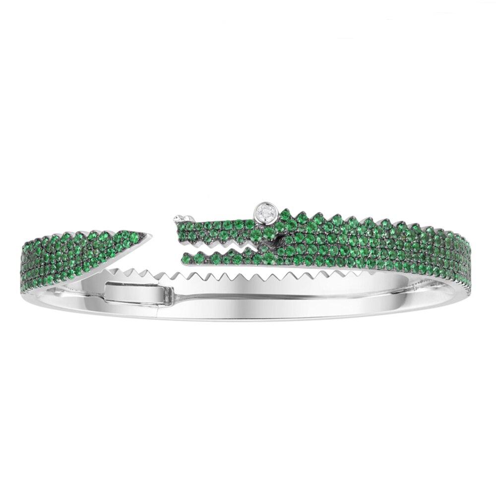 SKA Brand Bangles For Women Bracelet Monaco 925 Sterling Silver Women Bracelets Crocodile Inlaid Green Crystal Jewelry AB3516XKG