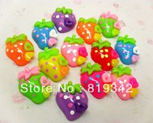 Free Shipping 100pcs Mixed Resin Love heart Strawberries Beads Flatback Cabochon Craft Scrapbook Fit Phone Decoration